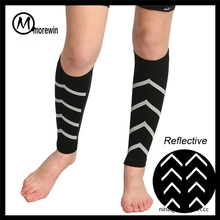 Morewin custom luminous light compression sports leg sleeves basketball running leg compression sleeve
