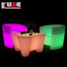 LED plastic garden sofa furniture/molded plastic outdoor furniture with RGB light illuminated