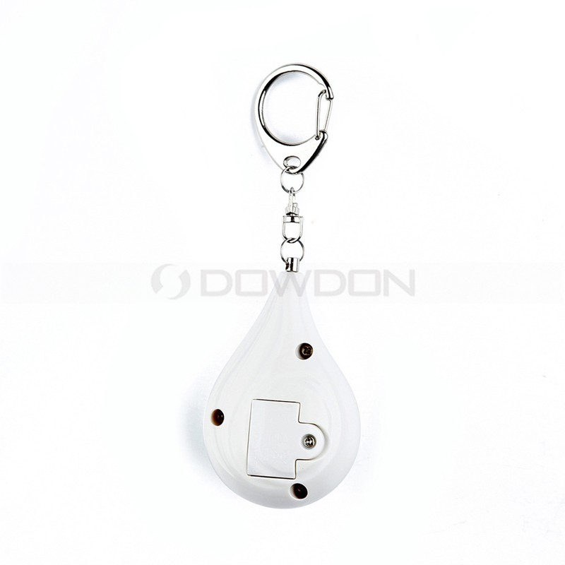 Promotional Gift Economic 120DB Blue Pink Water-drop Shaped Keychain Personal Security Alarms