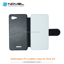 diy flip Sublimation leather phone case for sony xperia E3