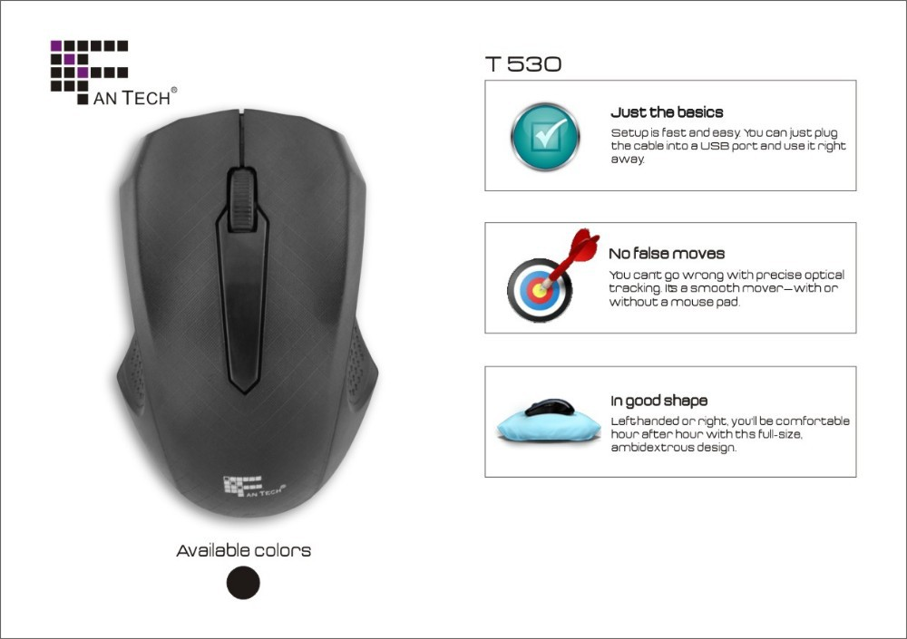 Wired Touch Mouse Fantech FT-T530 Optical Wire Mouse