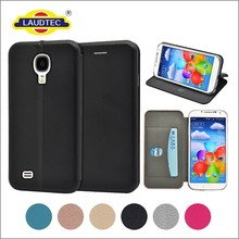 leather stand flip back cover case for samsung S4, slim wallet phone case