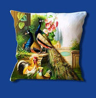 KTCC-33 2014 Latest design Peacock birds Home Decor cushion cover Digital Printed Cushion Cover From Jaipur Wholesale Lot