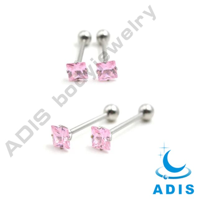 surgical steel zircon prong setting luxury wholesale fake magnetic tongue piercing