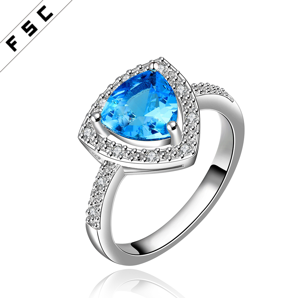 2017 high quality cz diamond with gold plated blue cz diamond geometrical luxury ring for women