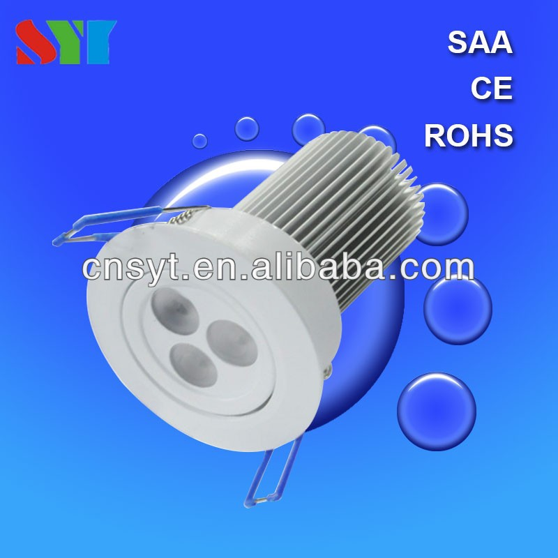 New Recessed Round Aluminum 3*2W 3*3W 6W 9W High Power Led Downlight