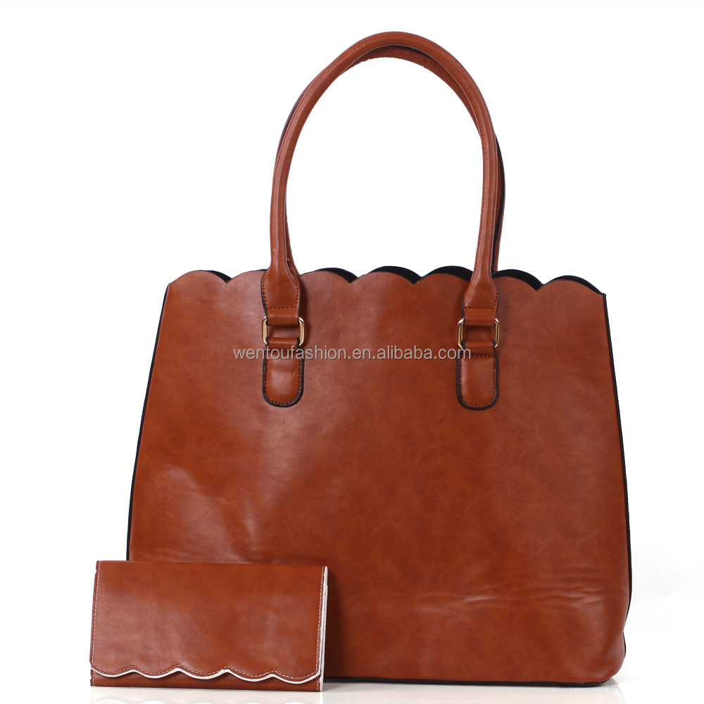 Wholesale monogrammed leather scalloped tote bag