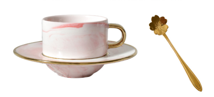 Ceramic coffee cup with saucer private label hand-painted gold lined marble coffee mugs