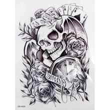 New Body Old Clock Death Skull Punk Rose Arm Sleeve Adhesive Fake Tattoo Men Women Temporary Tattoo Stickers