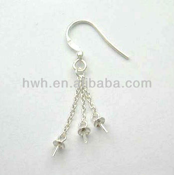 H566 Silver Earring Hook with 3 Chains&Pearl Caps