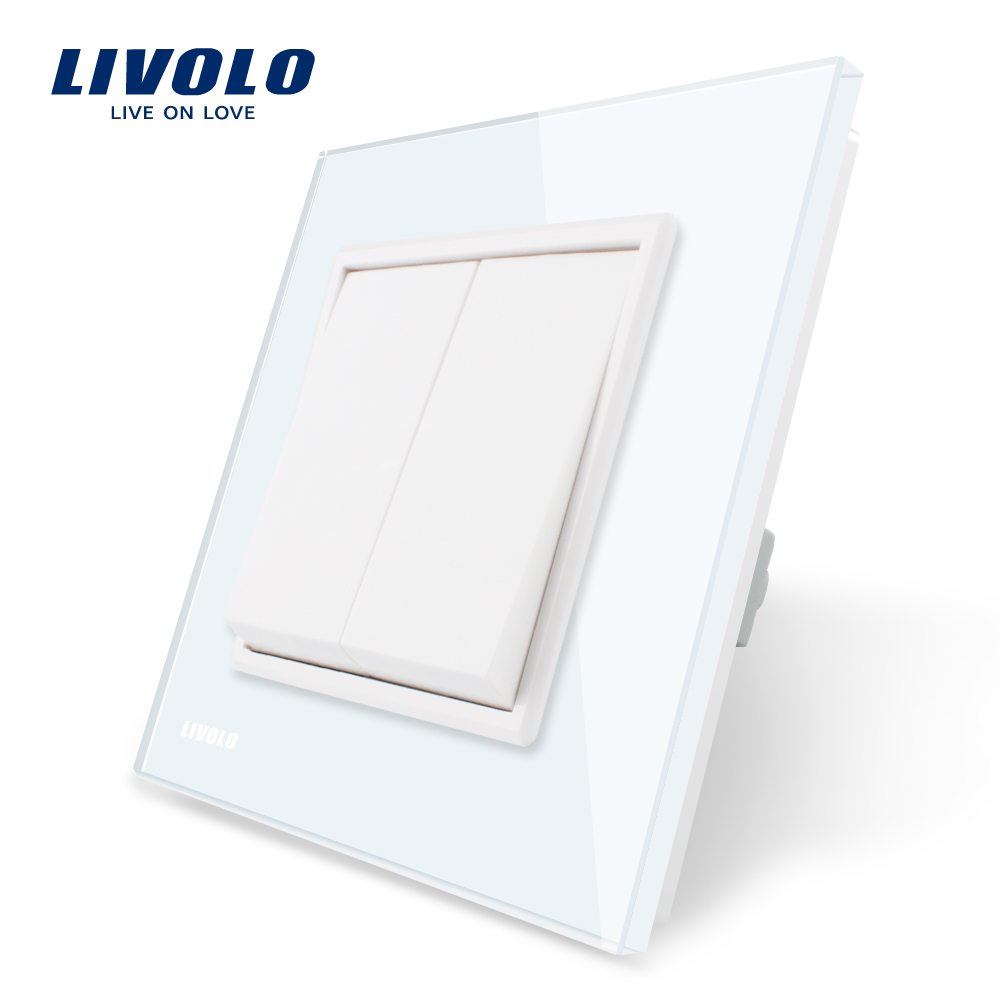 Manufacturer Livolo Luxury white crystal glass panel, two gangs one way, Push button switch/ smart home, VL-C7K2-11