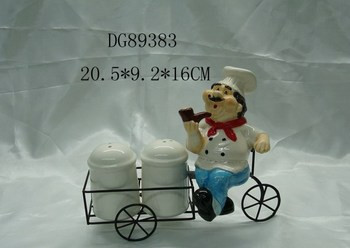 Porcelain Salt & Pepper Shaker with Stand
