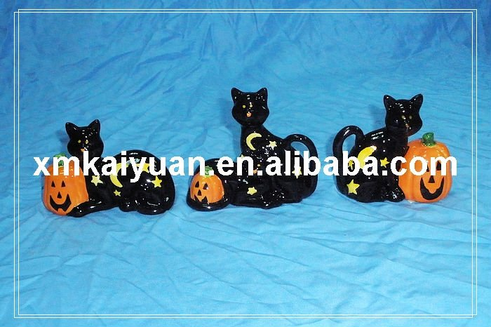 Halloween ceramic cat pumpkin decoration