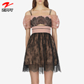 Women Slash Neck Patchwork Lace Women Summer Dress Hollow Out Floral Embroidery Vestido Vintage Party Lady Wvening Dress