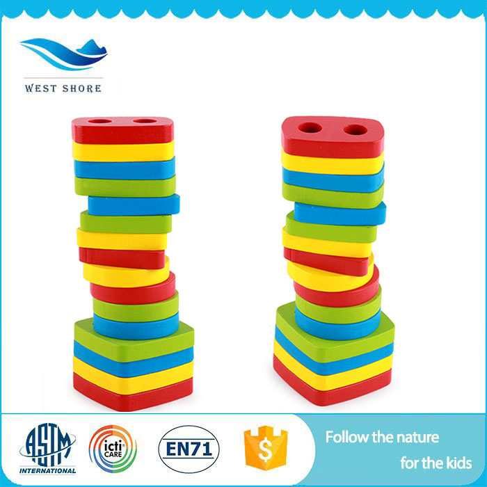 Children Wooden Rainbow tower shape Geometric Sorter blocks,Wooden Geometric Shapes Blocks toys for learning