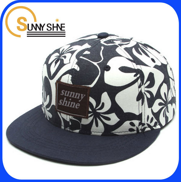 Custom fashion character hawaiian print 5 panel best floral snapback hat