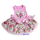 Valentine's Day Light Pink Rose Flower Heart Party Dress Small Pet Dog Clothes XS-L
