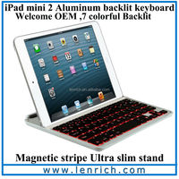 LBK142 Cheap arabic keyboard for ipad mini with smart cover case with LED backlit keyboard stand