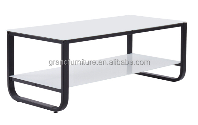 Rectangle glass coffee table with metal frame for home furniture