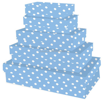 Artisan Polka Pink /Blue Rectangle Nest,Set Of 4 Nested Decorative Boxes,Pink/Blue Box Nest