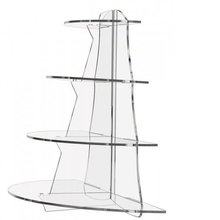 4 Tiers Countertop Clear Acrylic Cupcake Display Riser with half shelf
