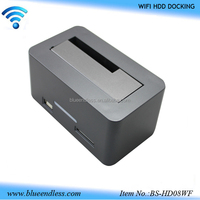 "2.5""/3.5"" usb3.0 to sata hdd case with wifi hdd docking station wifi usb hub card reader"