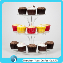 hand assembled 5mm thick 3 Tier Clear Cupcake Stand ,3 tiered acrylic round cake displays for retail and commercial environments