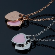 SJSG0172 Best Selling Products Stainless Steel Jewelry Gold Plated Women Pink Epoxy Double Heart Pendant Necklace