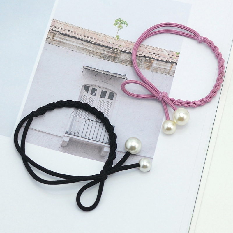 Pearls bead hair accessories bow elastic string hair ties for girl C-hb321