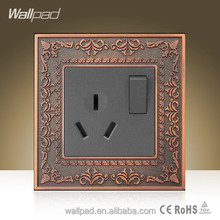 Hot Wallpad Luxury Zinc Alloy Electric Switch and Socket 16A 110-250V 1 Gang 2 way 3-Pins 10A Power Switched Socket Outlet