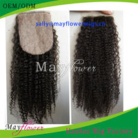 High quality Mongolian kinky curly silk base top closure pieces for American African women wholesale