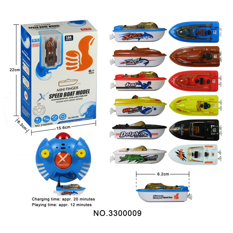 R/C Finger Boat Model W/ Red/blue Flashing Lights, Boat W/ Built-in Battery, 6 Asstd.