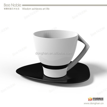 eco friendly product porcelain black and white tea cups and saucers