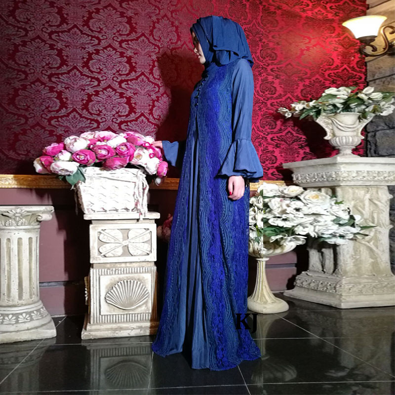 0286 flared skirts with franch lace jubah kaftans for dubai design abayas