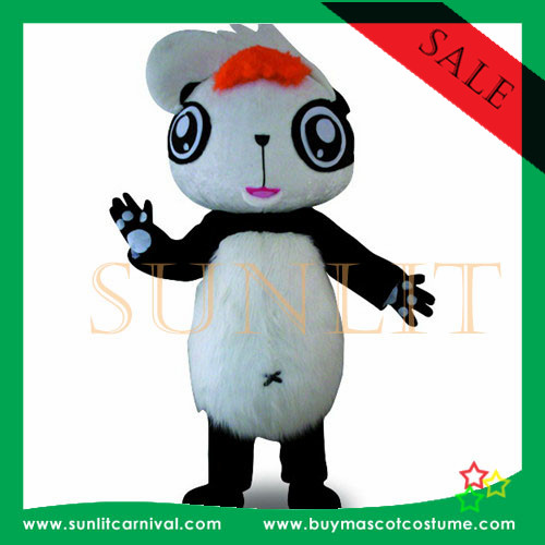 fur panda mascot costume/plush panda mascot costume party use