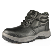 Top layer leather PU injection construction work safety shoes