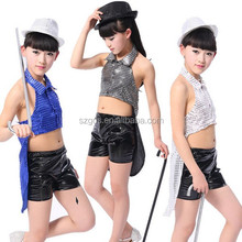 children's stage costumes wholesale girls dovetail jazz Latin sequins suit