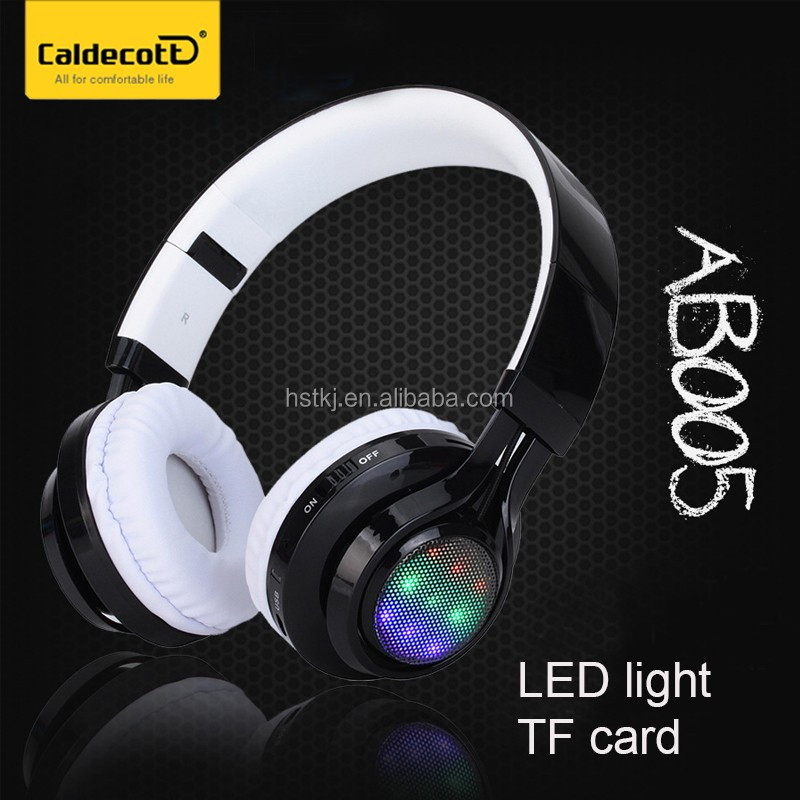 Over ear foldable headphone bluetooth wireless gaming headset with microphone FM radio TF card