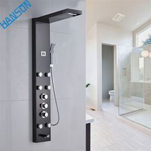 Thermostatic Modern Stainless Steel Column Rainfall Waterfall Rain Led Bathroom Wall Shower Panel