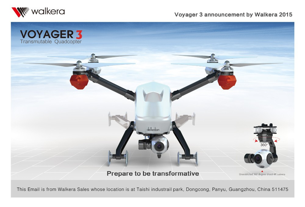 Walkera Voyager 3 Dual-Navigation RC Quadcopter FPV With 4K Camera DEVO F12E RTF