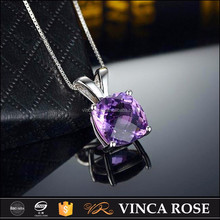 Purple amethyst cushion simple pendant silver chain necklace wholesale alibaba express in spanish