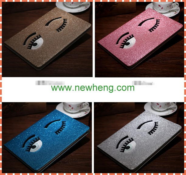 Luxury Bling Cute Eyes Tablet Flip Leather Case For ipad Air 2