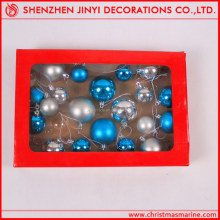 Hot Sale!2013 promotional 6cm christmas matt red ball with gold glitter decorations