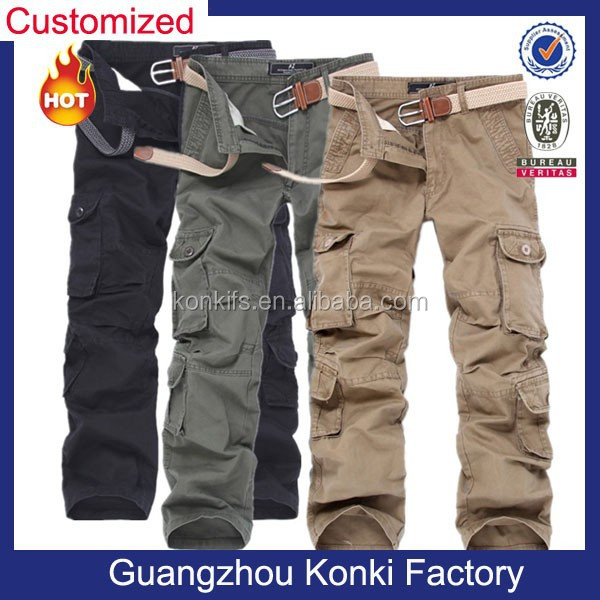 Different color fabric multi pocket cargo pants for men durable cotton fabric