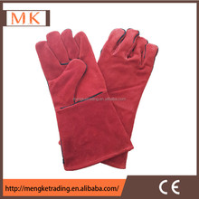 long red Cow split leather welding gloves