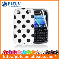 Set Screen Protector And Case For Blackberry 9320 , Polka Dots Gel TPU Cell Phone Case