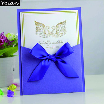 2016 new style korean wedding invitation card with ribbon