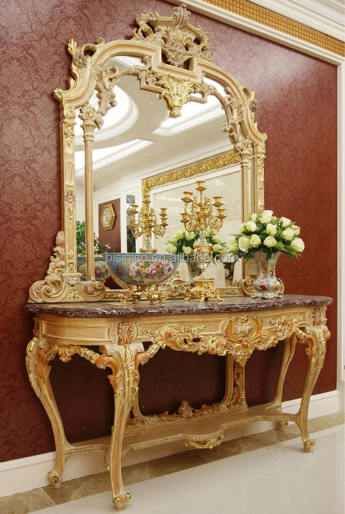 Luxury French Louis XV Style Goldleaf Console Table & Mirror/ Deluxe Hallway Golden Wood Carved Side Table