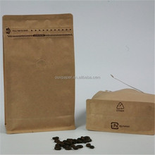 Custom brown kraft paper coffee bean packaging bags with zipper