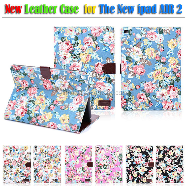 2014 Most popular Flower pattern leather case for ipad air 2, The New case for ipad 6